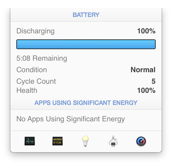 iStat Menu 5 showing time remaining estimate for Mac battery charge