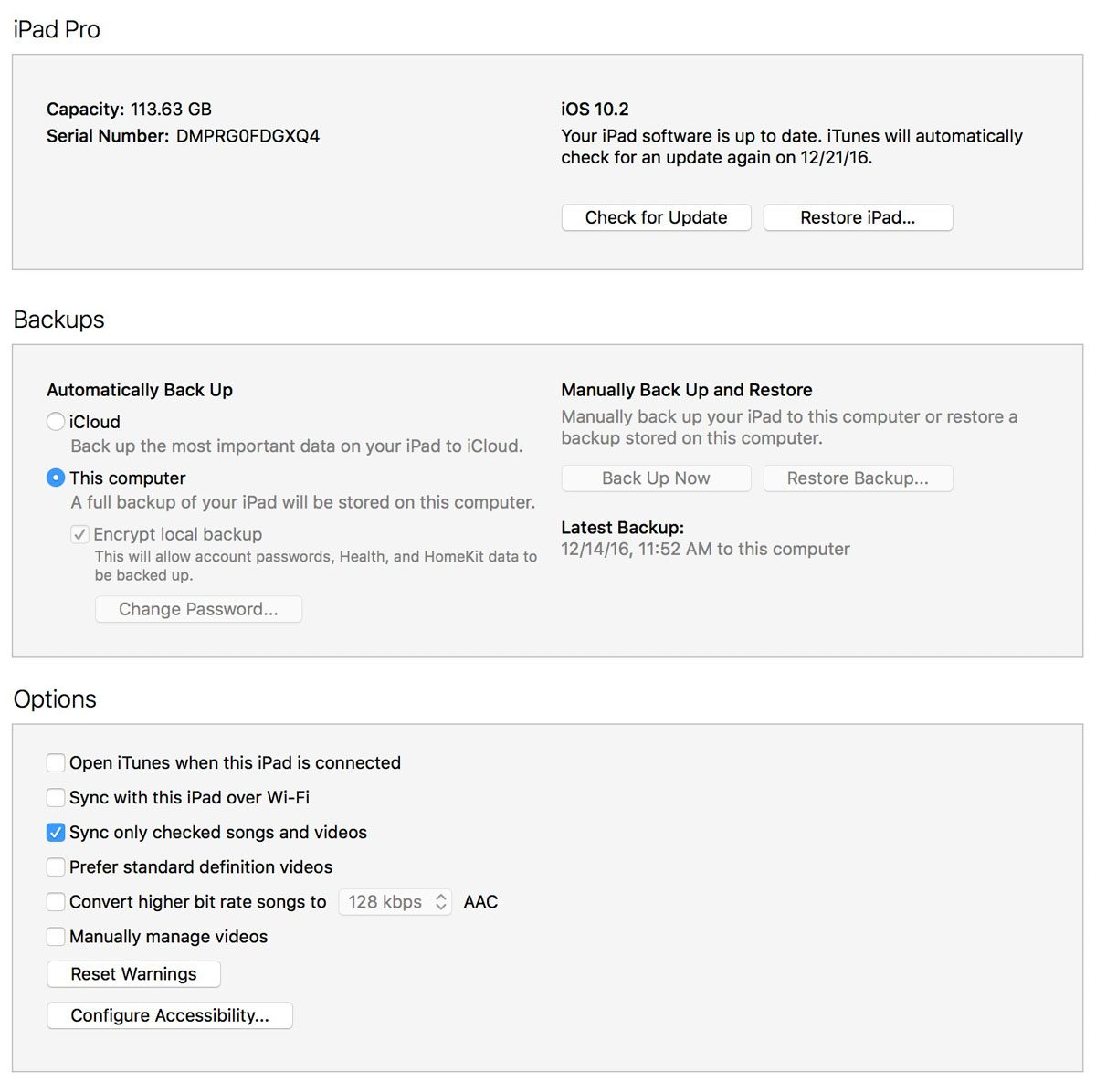 iTunes Summary for iPad Pro