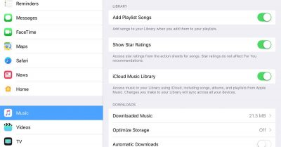 iOS 10.2 Music settings