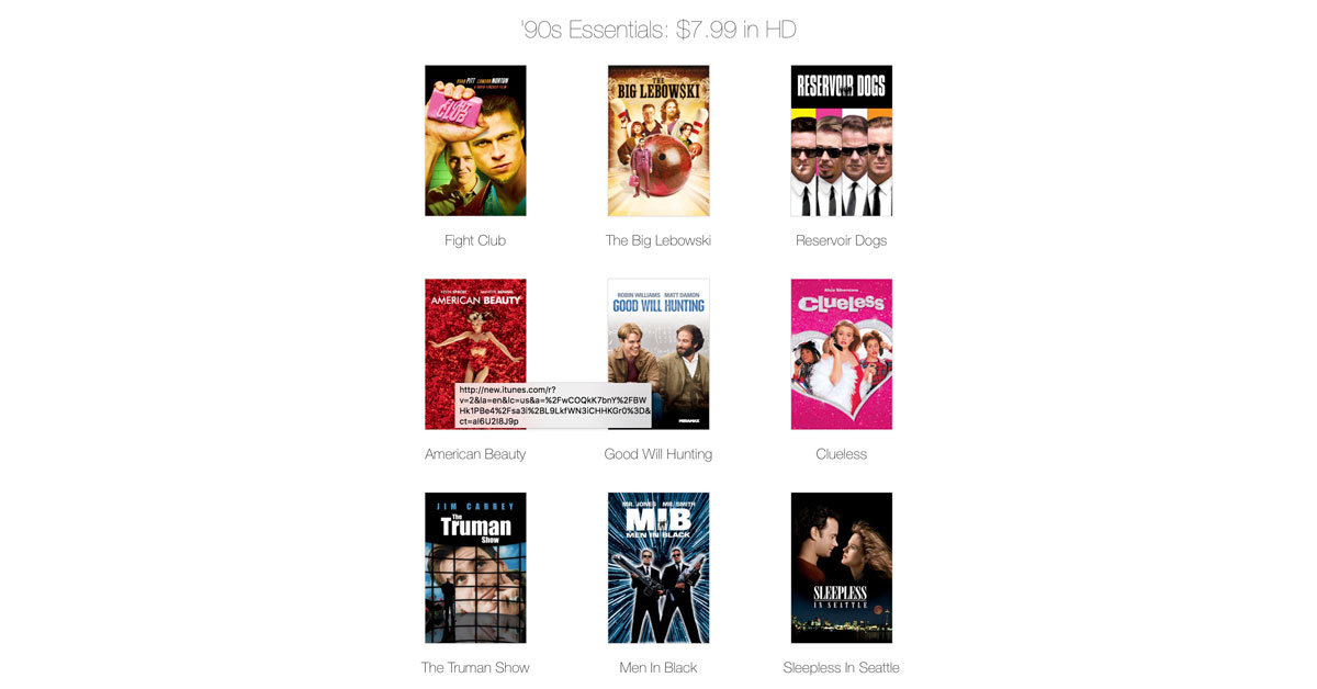 Apple Offers 31 'Essential' Movies from the 1990s for Less than $10