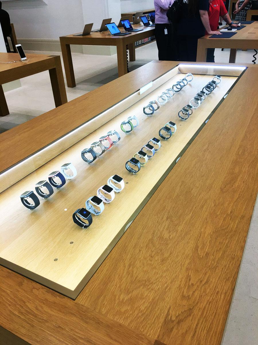 Apple Watch table in Apple Brisbane