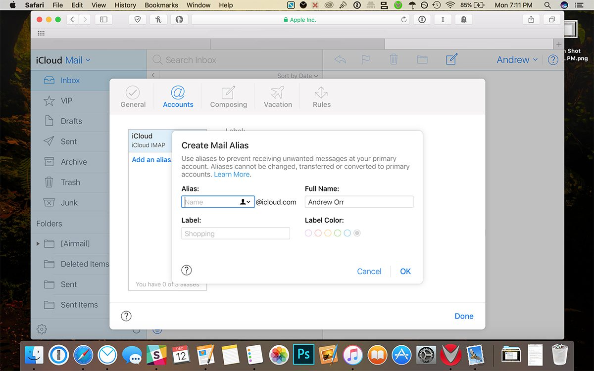 iCloud mail preferences
