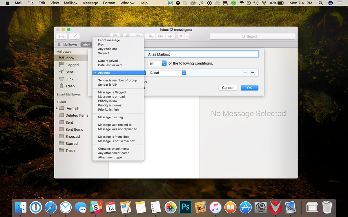 apple mail smart mailbox rules
