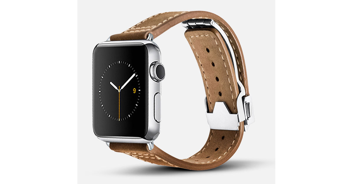 Monowear Leather Deployant Band for Apple Watch