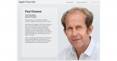 Way Back Machine Archive of Paul Deneve's Apple Bio