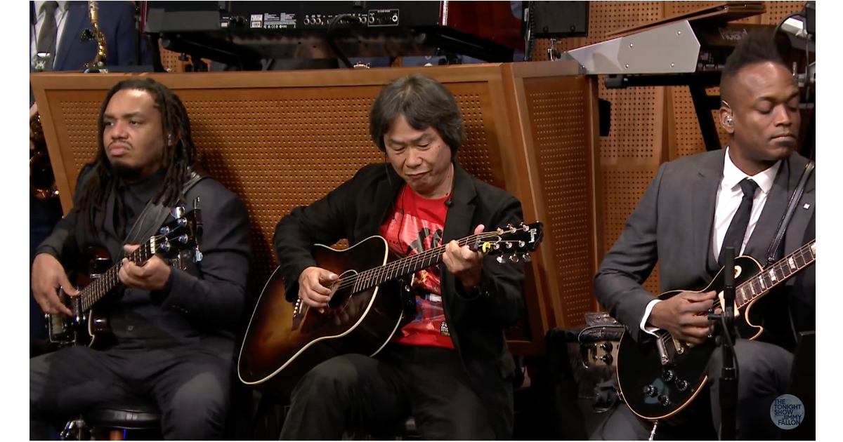 Shigeru Miyamato playing the Super Mario Bros. theme on The Tonight Show with Jimmy Fallon and The Roots