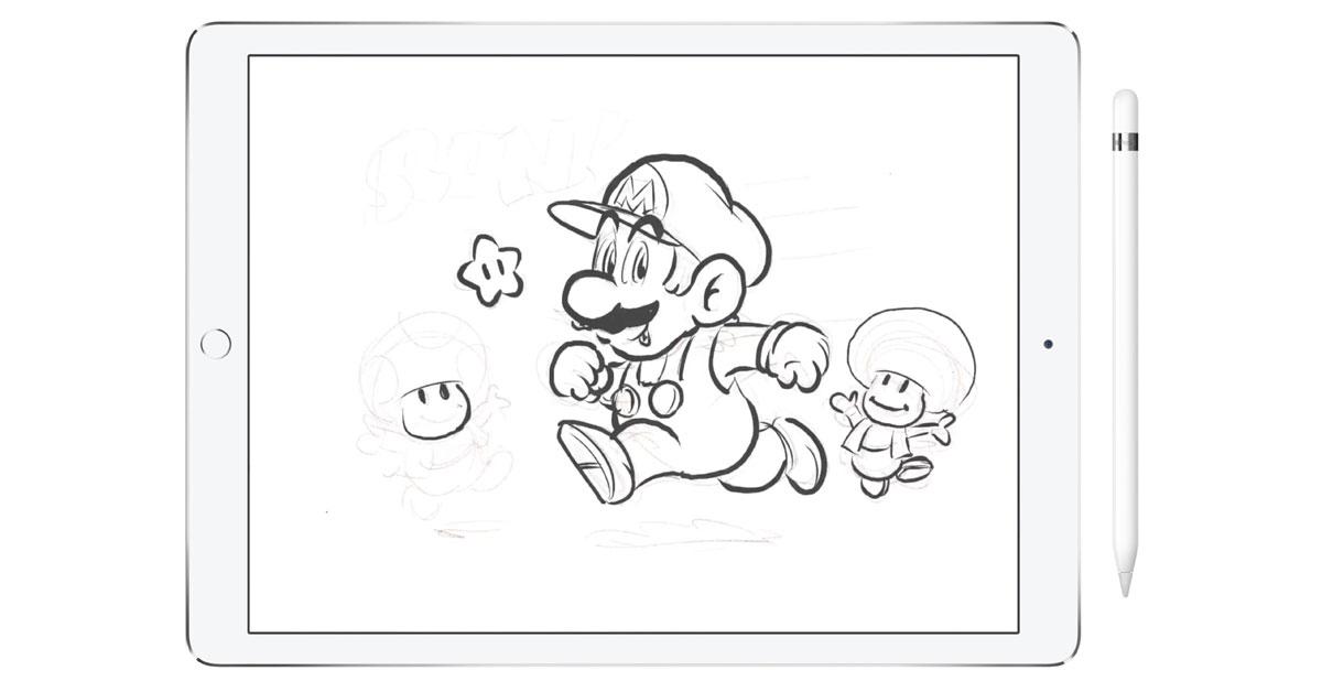 Shigery Miyamoto drawing Mario on iPad Pro with Apple Pencil