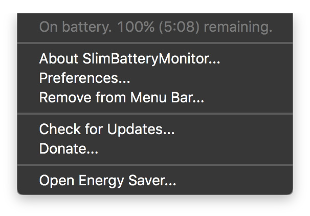 SlimBatteryMonitor showing charge remaining time estimate in the Mac menu bar