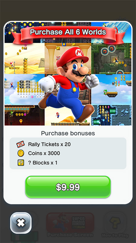 Super Mario Run offers an in-app purchase to unlock the full game