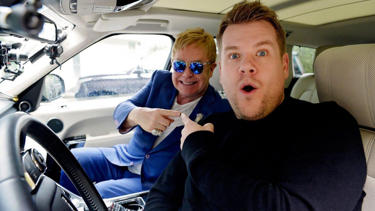carpool karaoke James Corden with Elton John