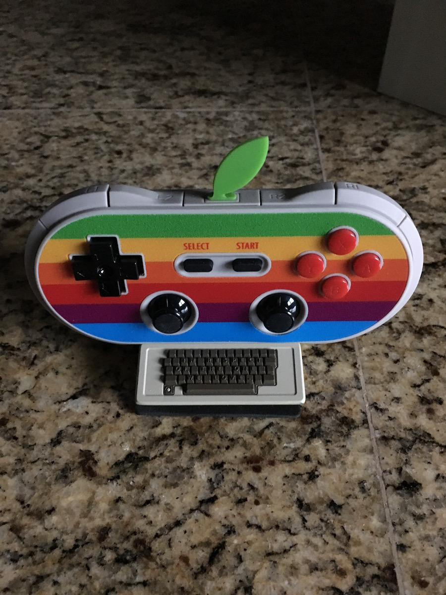8Bitdo controller resting on the Apple II stand.