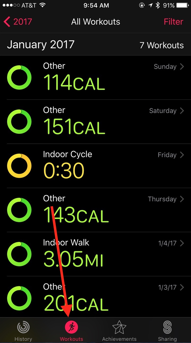 iOS Activity app All Workouts view