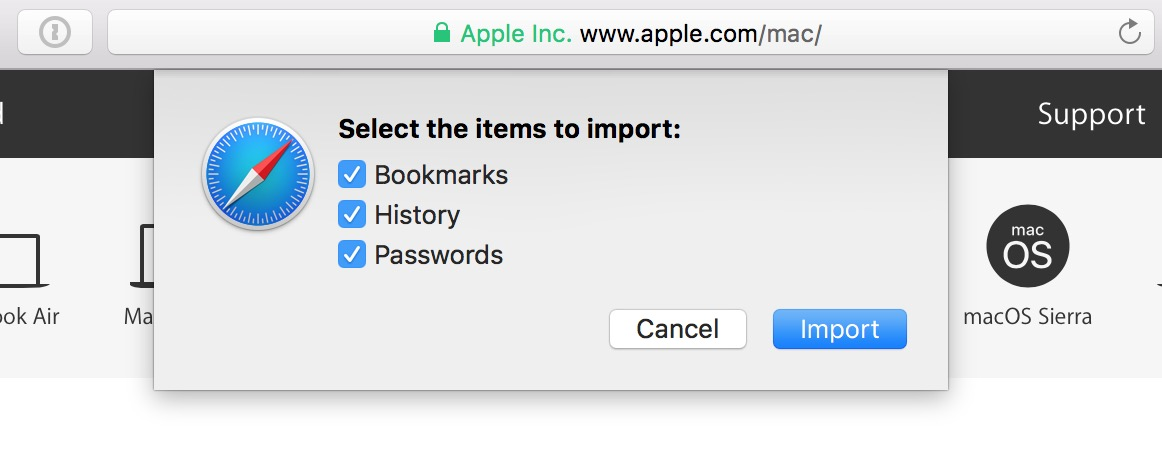 Safari's Select the items to import pane for importing bookmarks from other web browsers