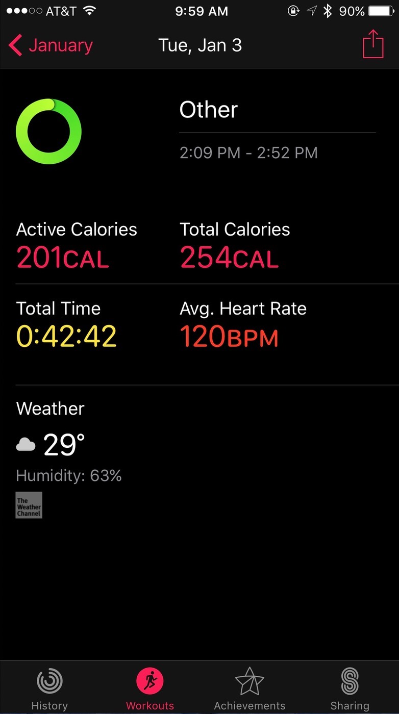 iOS Activity app Workout view details