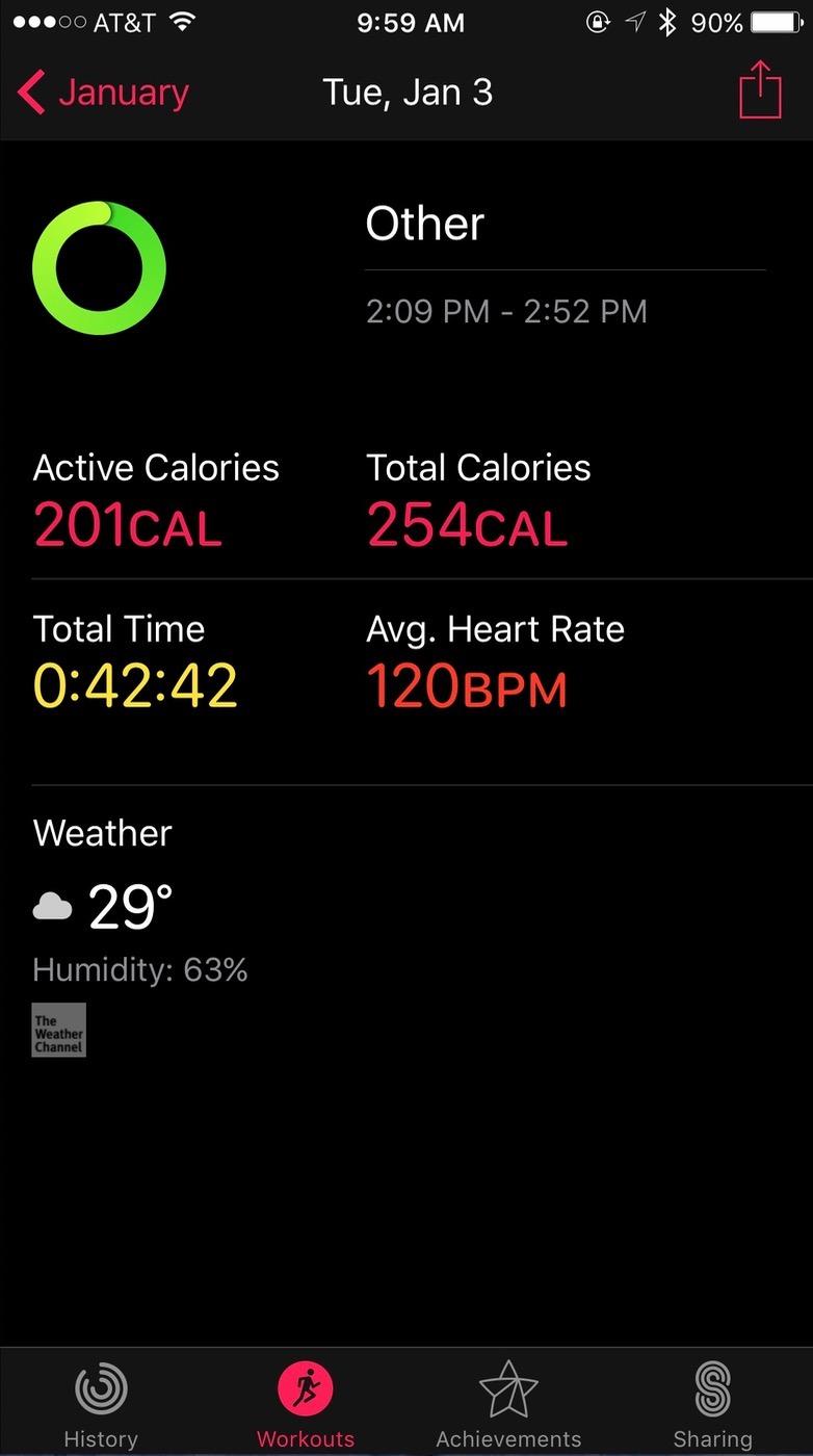 iOS Activity app Workout view details
