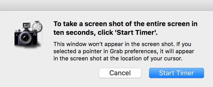 macOS Grab Start Timer dialog