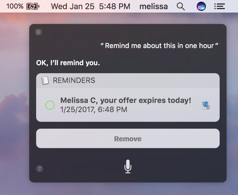 Siri creating an Email Reminder in macOS Sierra