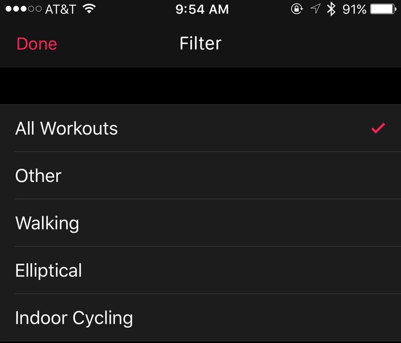 Filtering workouts in iOS Activity app