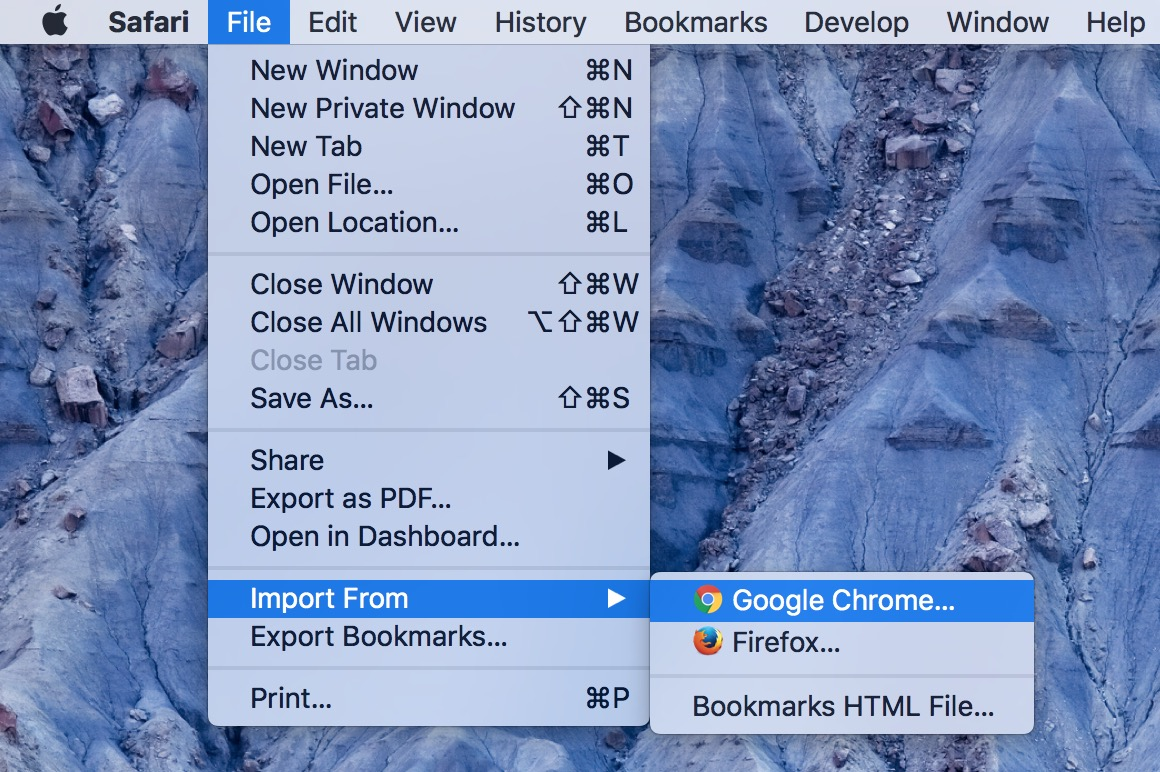 Import From menu option Safari on the Mac