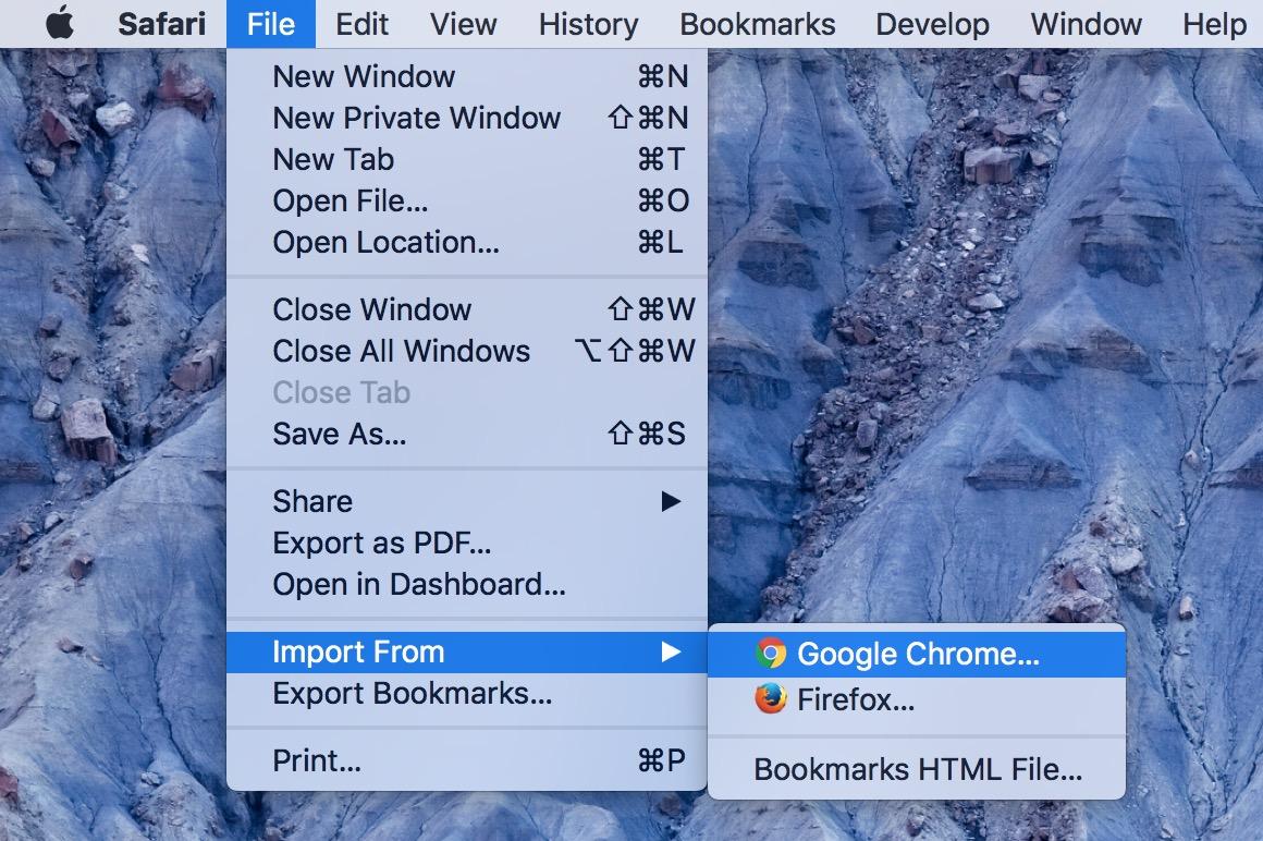 Import From menu option Safari on the Mac