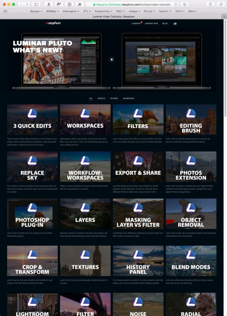 Short, sweet, and to the point tutorials on many facets of Luminar.