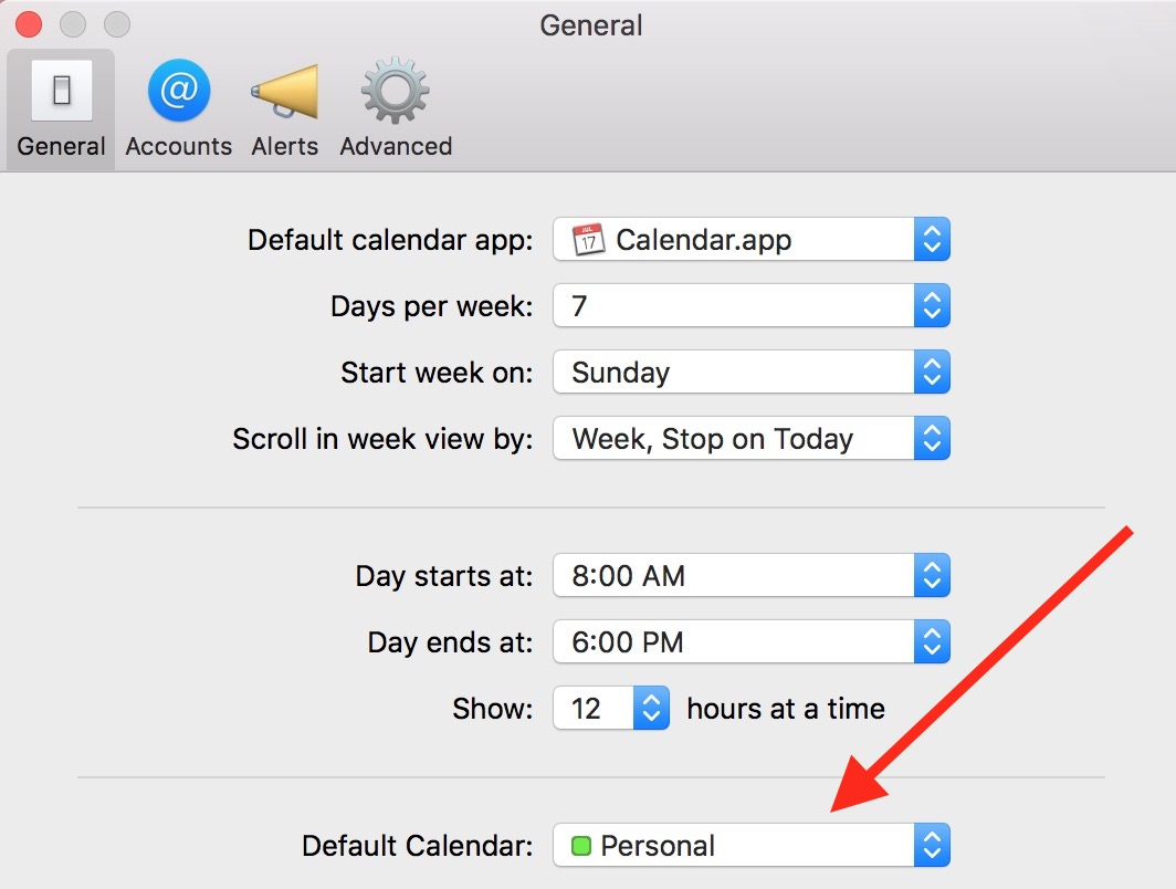Calendar Preferences on the Mac