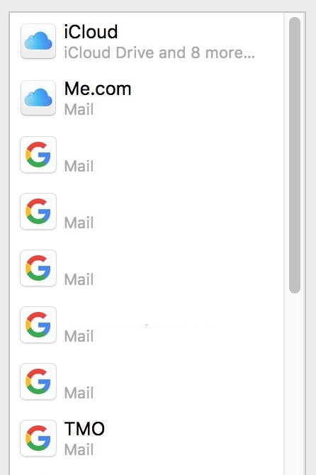 Internet Accounts listing on the Mac