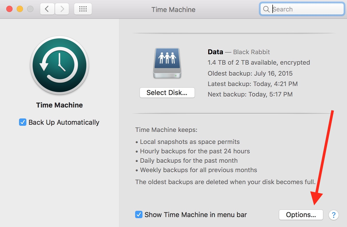 Options Button for macOS Time Machine.