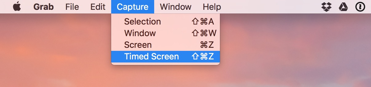 macOS Grab Timed Screen menu option