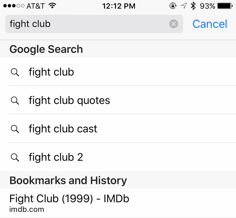 Fight Club search results without Safari suggestions