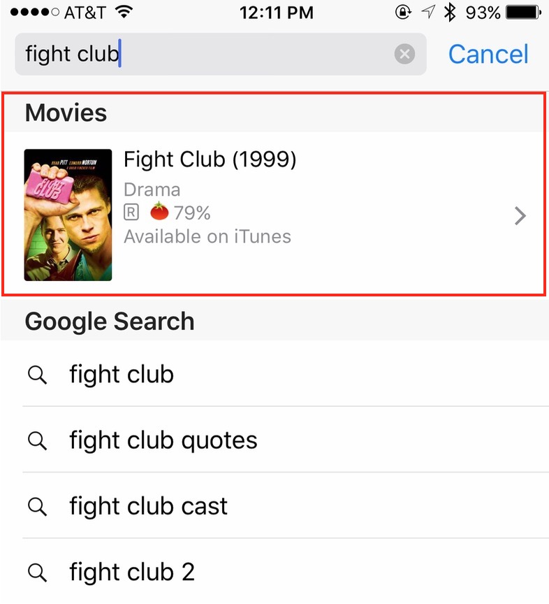 iPhone search results showing Fight Club suggestion