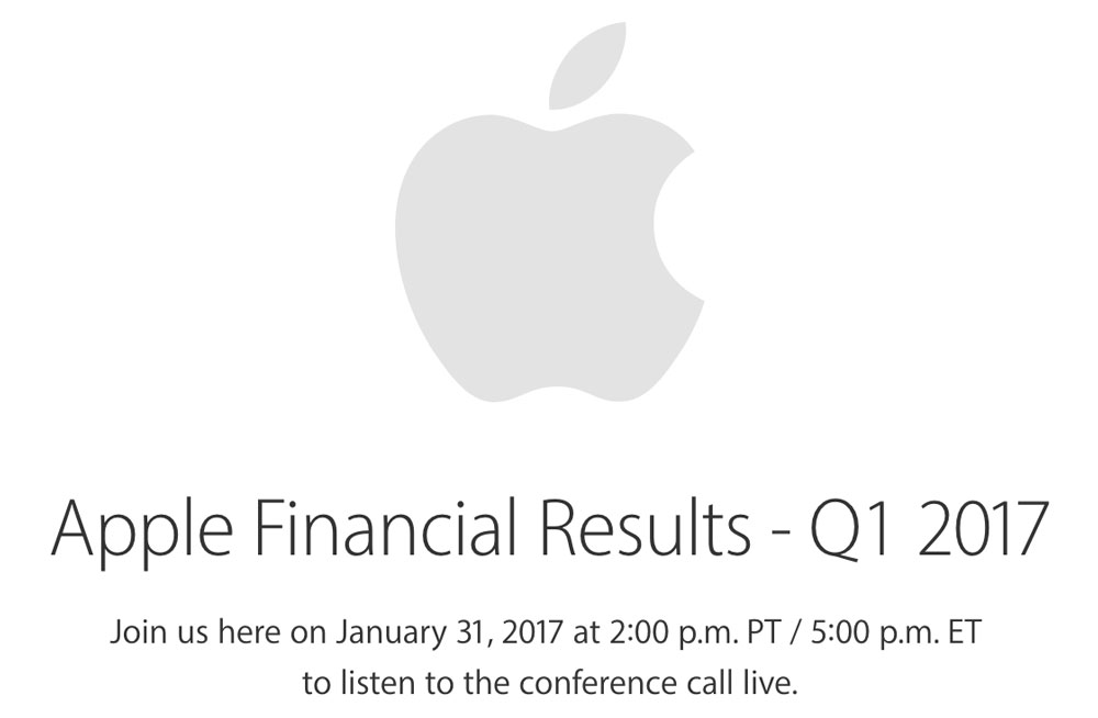 aapl q1 2017 scheduled