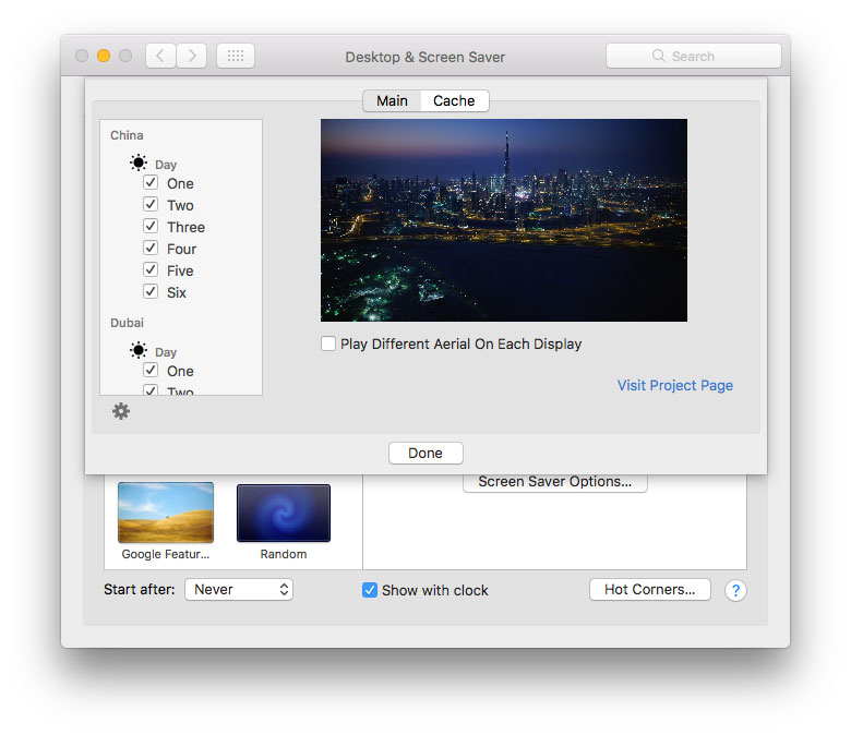 aerial mac screen saver preferences