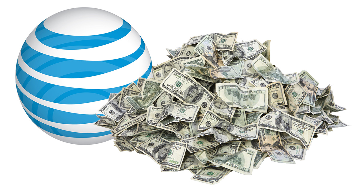 AT&T kills internet piracy. image of AT&T logo with pile of cash