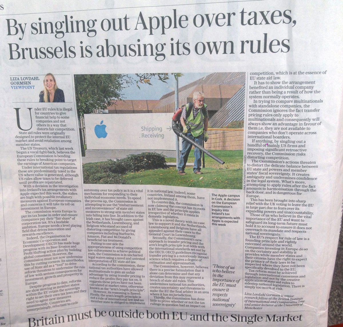 """""""By Singling Out Apple Over Taxes, Brussels Is Abusing Its Own Rules"""""""