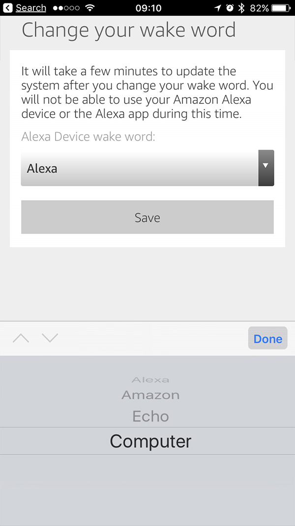 Echo and Echo Dot Wake Word list in the iPhone Alexa app