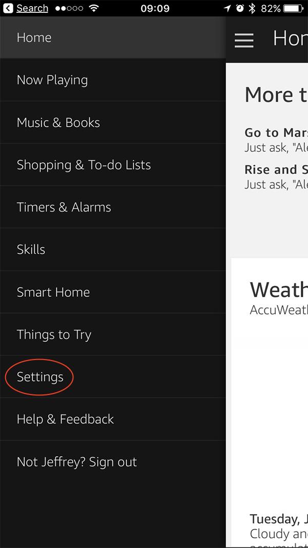 Alexa app settings options on the iPhone