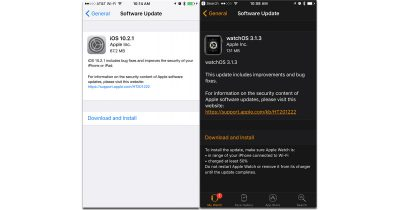 Screenshots for iOS 10.2.1 and watchOS 3.1.1