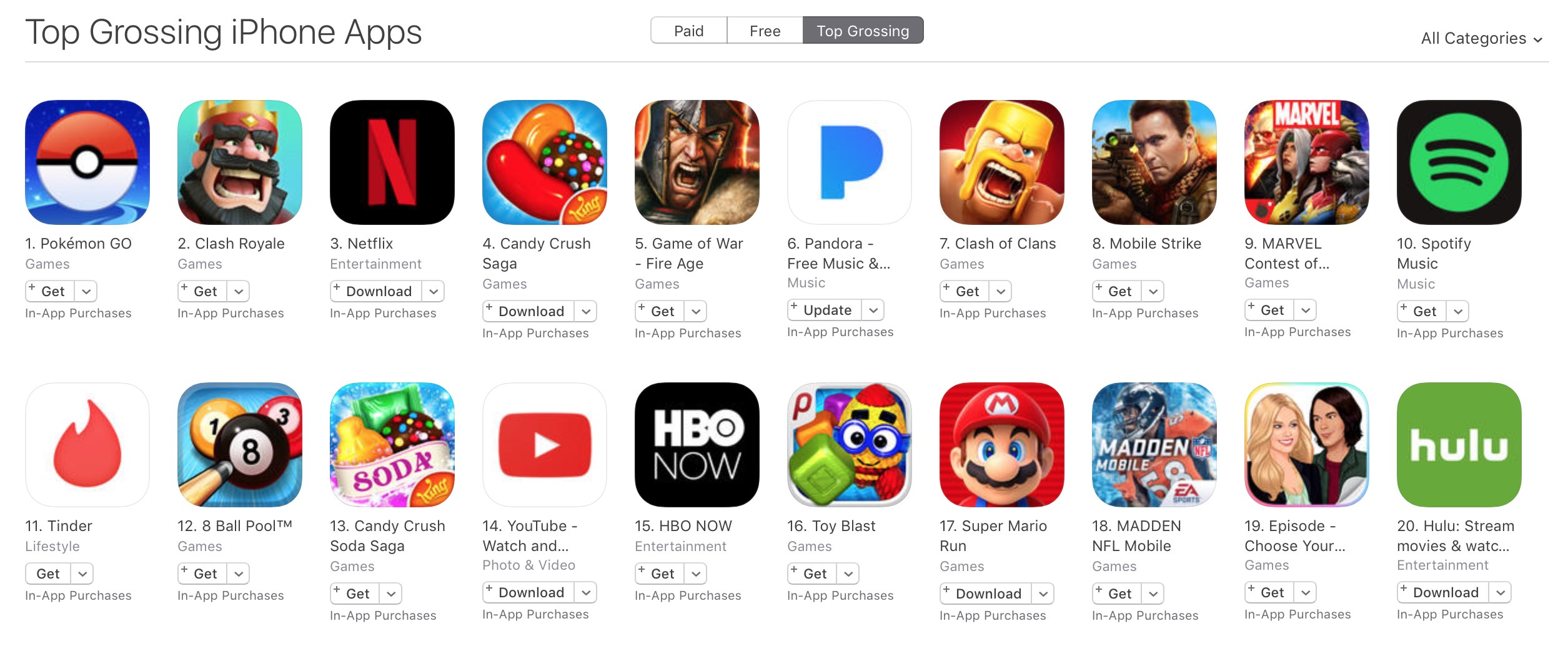 itunes top grossing apps super mario run