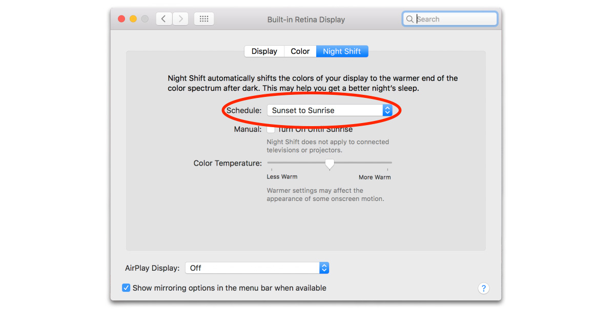 Go to Displays in System Preferences to manage Night Shift settings