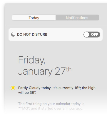 Manually activate Night Shift from the Notifications view on your Mac