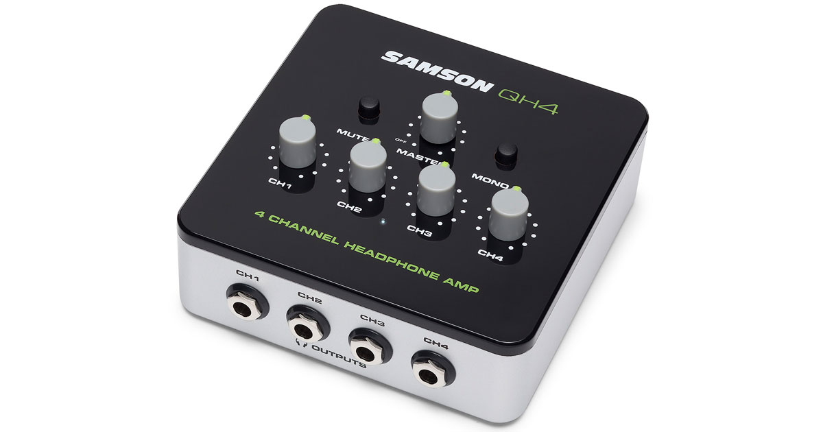 Samson QH4 Headphone Amp: 4 Headphones for Desktop Recording