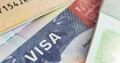 Macro of a U.S. Visa in a passport