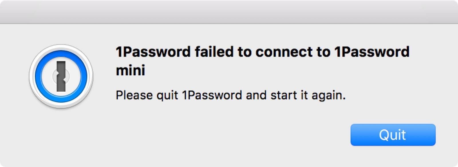 1Password Error Message