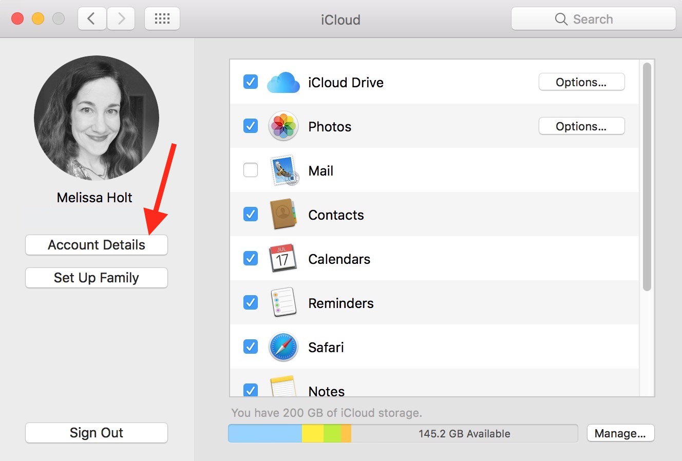 macOS iCloud Account Details option for Apple ID authentication code request