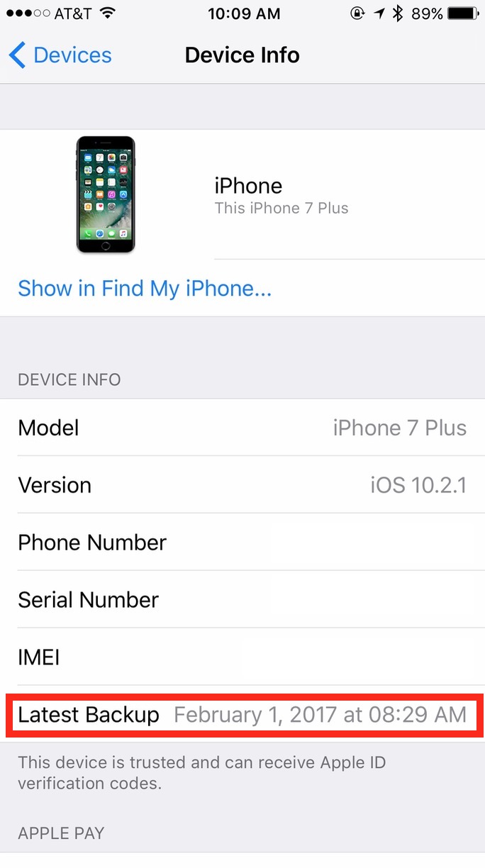 iPhone iCloud Device Info showing last Backup Date