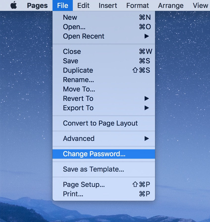 Pages File menu option to Change Password for a document