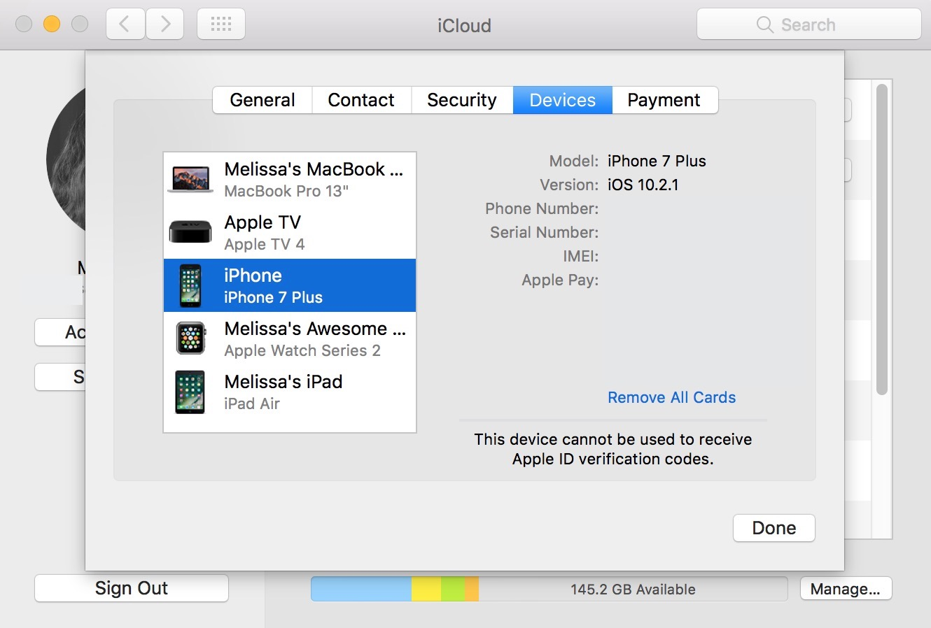 iCloud Devices Tab on the Mac