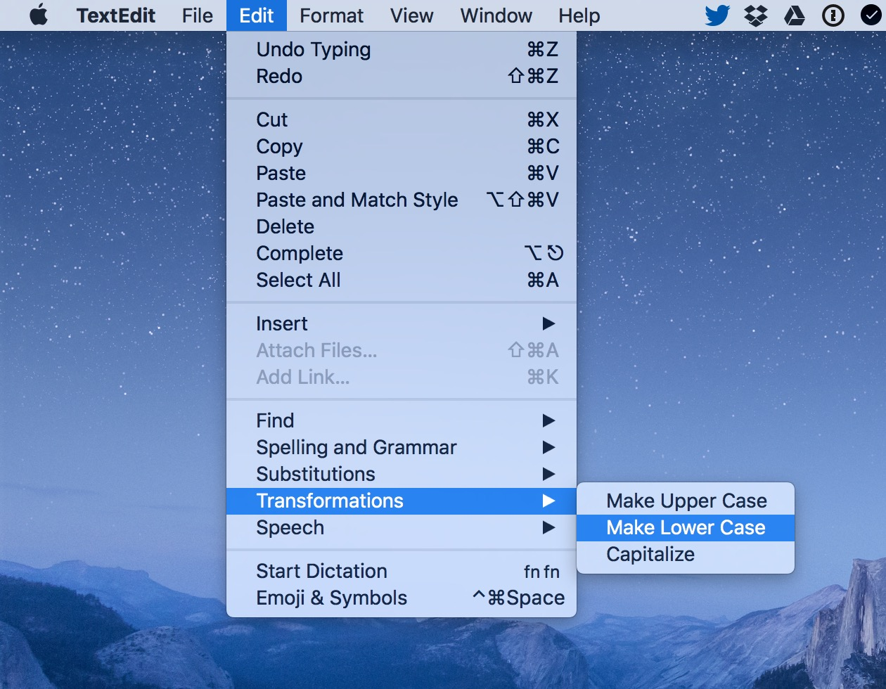 macOS Edit Transformations menu option in TextEdit