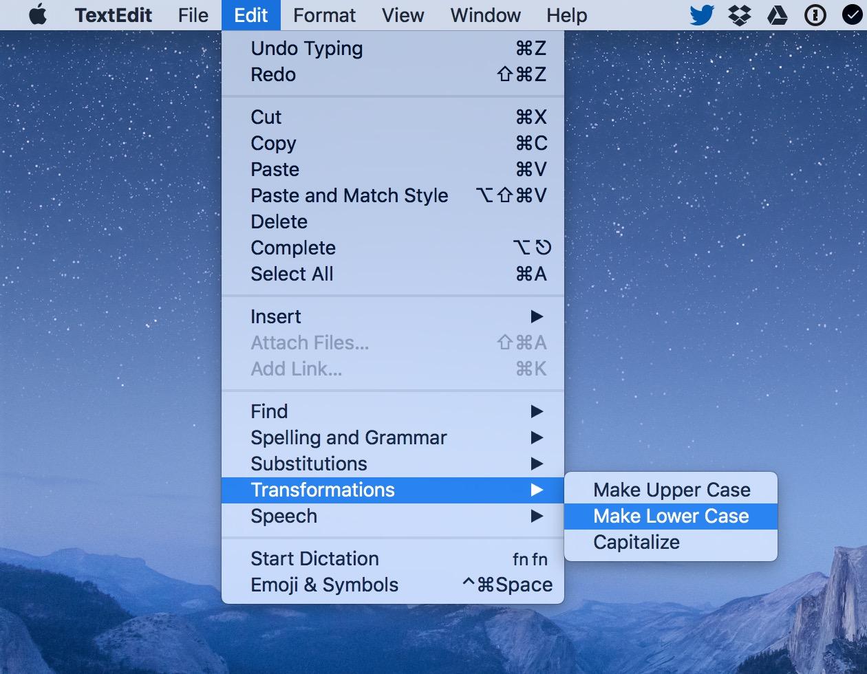 macOS Edit Transformations menu option in TextEdit